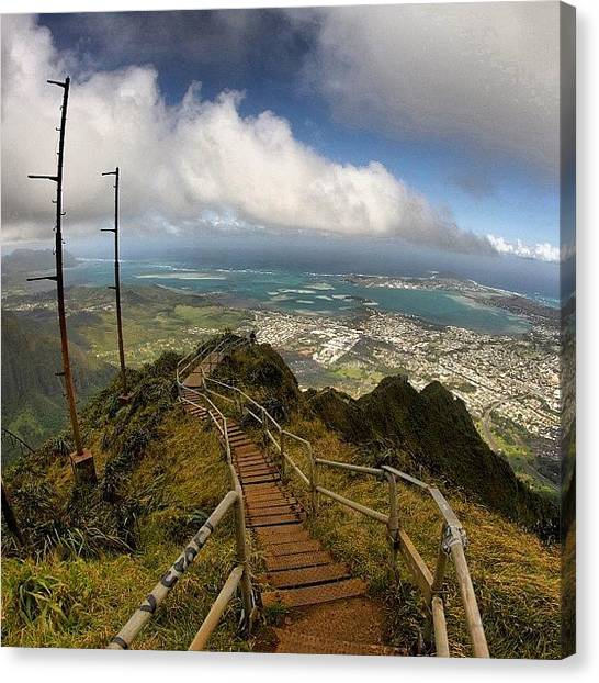 Hawaii Canvas Print - 3000 Steps To Go..... #stairwaytoheaven by Brian Governale