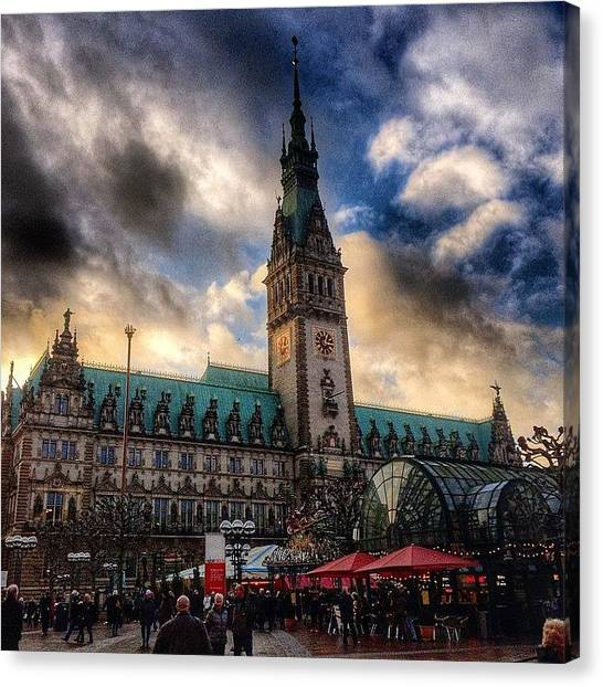 Iphone 5s Canvas Print - Christmas Market Hamburg by Octav Studio