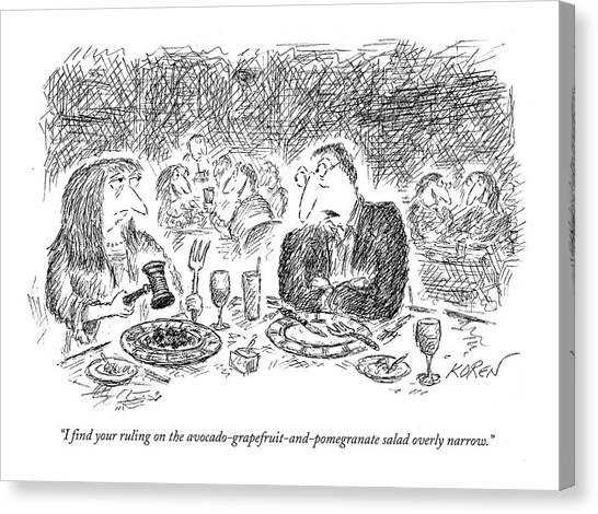 Salad Canvas Print - I Find Your Ruling by Edward Koren