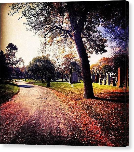 Autumn Leaves Canvas Print - Ghosts In The Graveyard by Jenna Collier