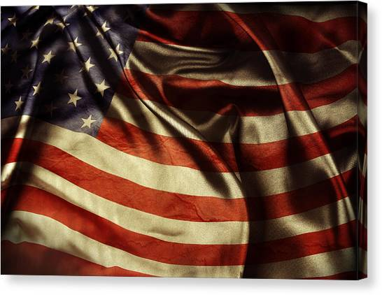 American Flag Canvas Print - American Flag 51 by Les Cunliffe