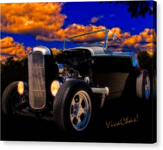 32 Ford Roadster In Silver An Black Canvas Print