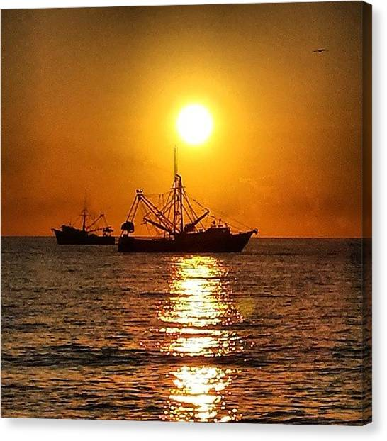Fishing Boats Canvas Print - Sunset Behind Shrimp Boats by Adam Williams