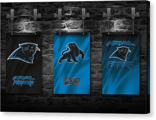 Carolina Panthers Canvas Print - Carolina Panthers Team Flag by Joe Hamilton