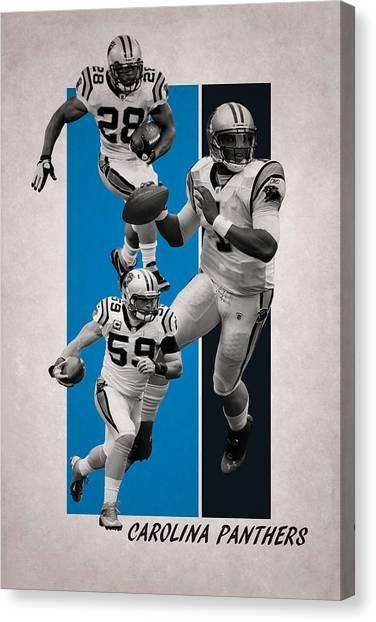 Carolina Panthers Canvas Print - Carolina Panthers Team Flag 2 by Joe Hamilton