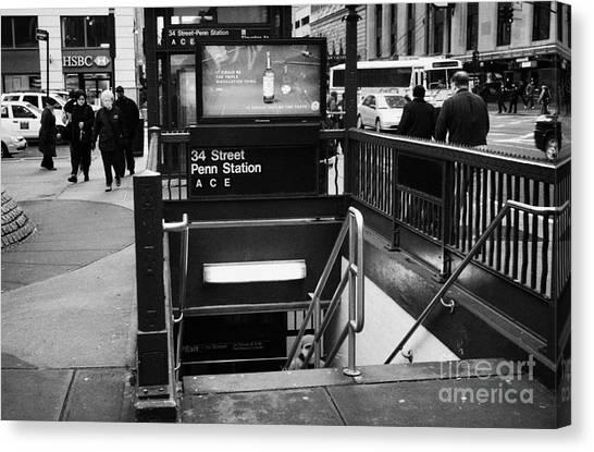 Manhatan Canvas Print - 34th Street Entrance To Penn Station Subway New York City by Joe Fox
