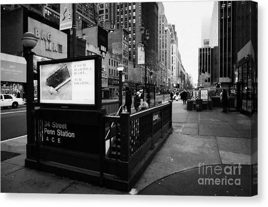 Manhatan Canvas Print - 34th Street Entrance To Penn Station Subway New York City Usa by Joe Fox