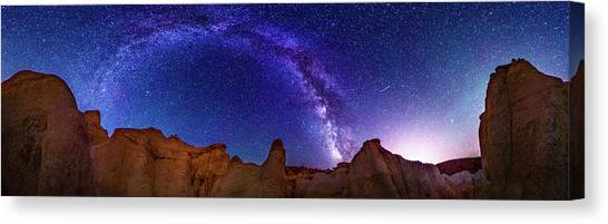 360 Milky Way Pano At Paint Mines Canvas Print