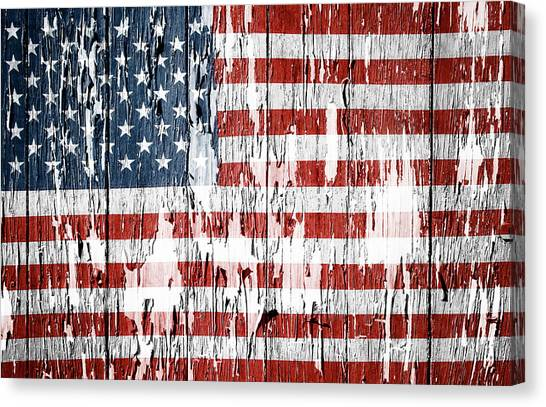 Flag Canvas Print - American Flag 49 by Les Cunliffe