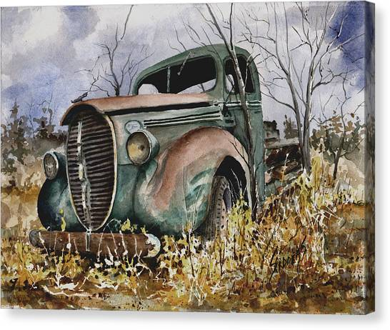 Ford Truck Canvas Print - 39 Ford Truck by Sam Sidders