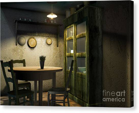 Fashion Plate Canvas Print - 3d Dining Table Room by Artist Nandika  Dutt