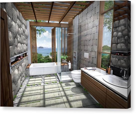 3d Tropical Bathroom Canvas Print by Thanes
