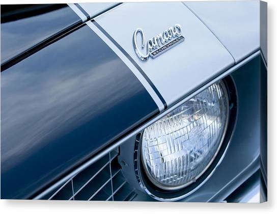 Canvas Print featuring the photograph 1969 Chevrolet Camaro Z-28 Emblem by Jill Reger