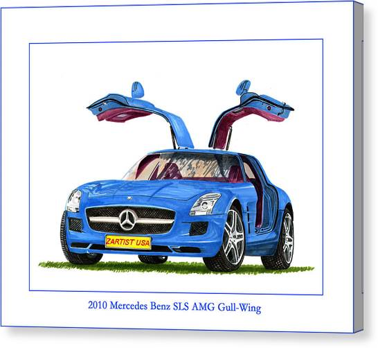 Classic Car Drawings Canvas Print - 2010 Mercedes Benz S L S Gull-wing by Jack Pumphrey