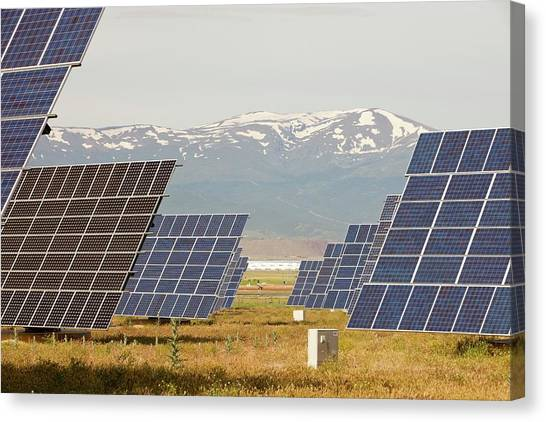 Clean Energy Canvas Print - A Photo Voltaic Solar Power Station by Ashley Cooper