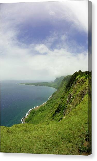 Kalaupapa Cliffs Canvas Print - A Scenic View Of The Worlds Tallest Sea by Jonathan Kingston