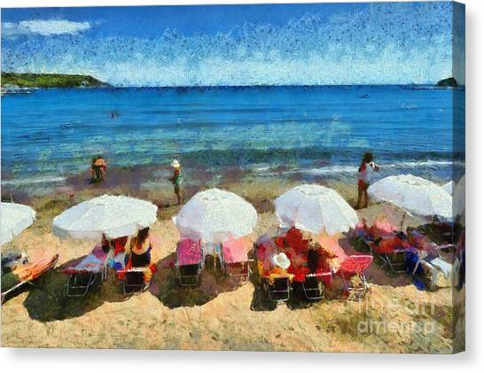 Gulf Canvas Print - Agia Marina Beach by George Atsametakis