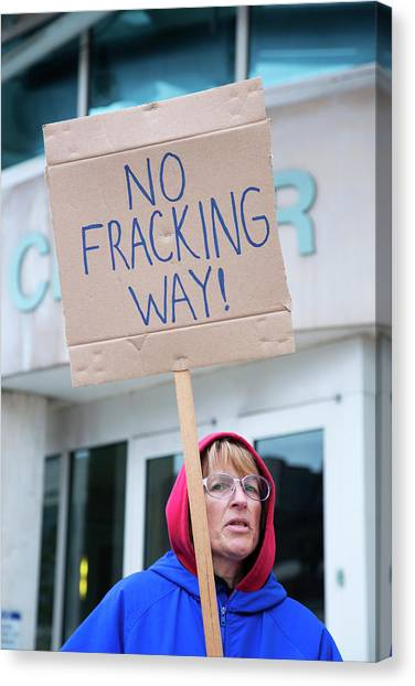 Political Science Canvas Print - Anti-fracking Protest by Jim West