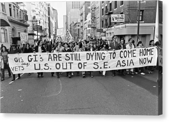 Placard Canvas Print - Anti Vietnam War Demonstration by Underwood Archives Adler