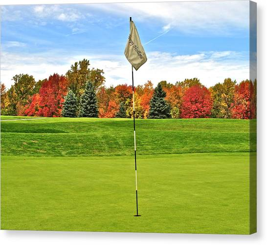 Phil Mickleson Canvas Print - Autumn Golf by Frozen in Time Fine Art Photography