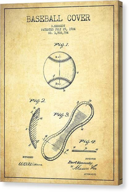 Softball Canvas Print - Baseball Cover Patent Drawing From 1924 by Aged Pixel