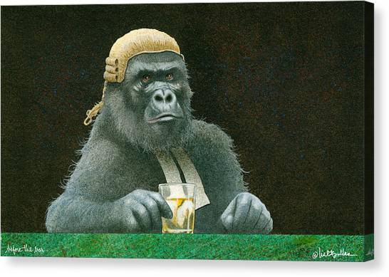 Gorillas Canvas Print - Before The Bar... by Will Bullas
