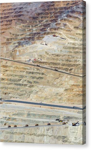 Dump Trucks Canvas Print - Bingham Canyon Copper Mine by Jim West