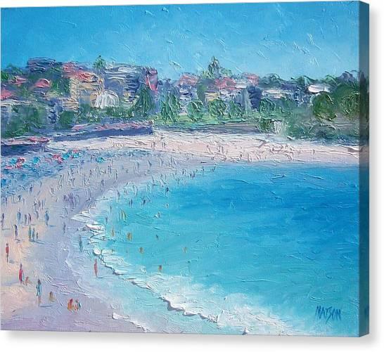 People Walking On Beach Canvas Print - Bondi Beach by Jan Matson