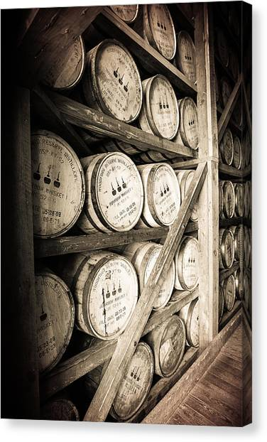Whiskey Canvas Print - Bourbon Barrels by Karen Varnas