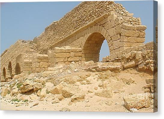 Caesarea Israel Ancient Roman Remains Canvas Print by Robert Birkenes
