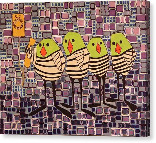 4 Calling Birds Canvas Print