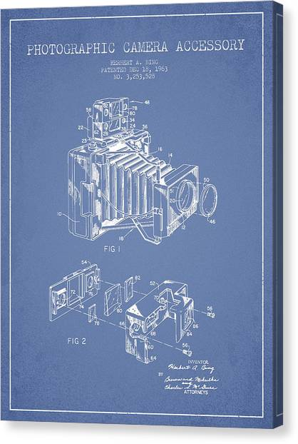 Vintage Camera Canvas Print - Camera Patent Drawing From 1963 by Aged Pixel