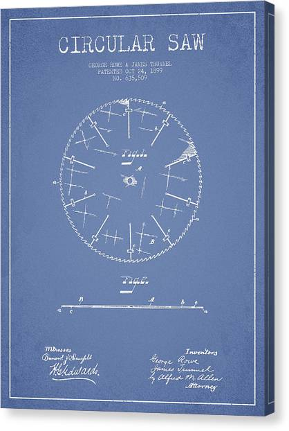 Saws Canvas Print - Circular Saw Patent Drawing From 1899 by Aged Pixel
