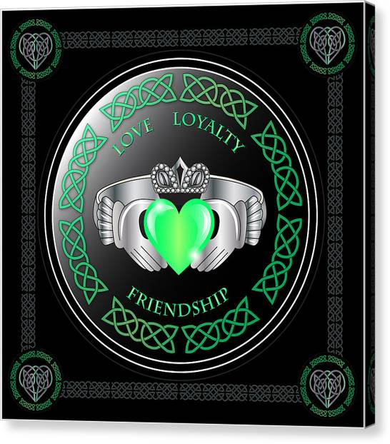 Celtic Art Canvas Print - Claddagh Ring by Ireland Calling