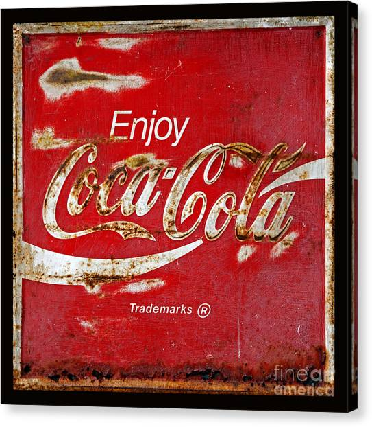 Coca Cola Canvas Print - Coca Cola Vintage Rusty Sign Black Border by John Stephens