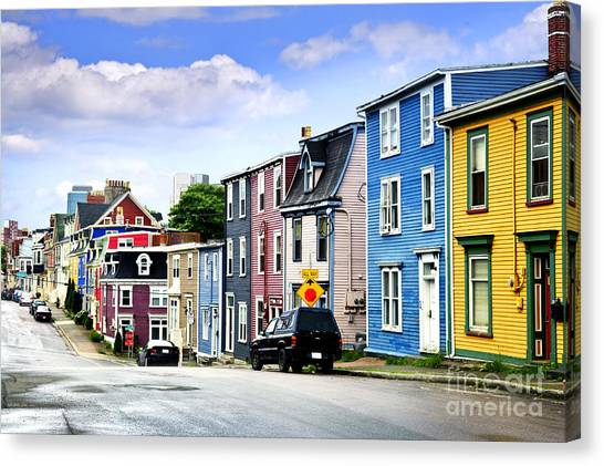 Town Canvas Print - Colorful Houses In St. John's by Elena Elisseeva