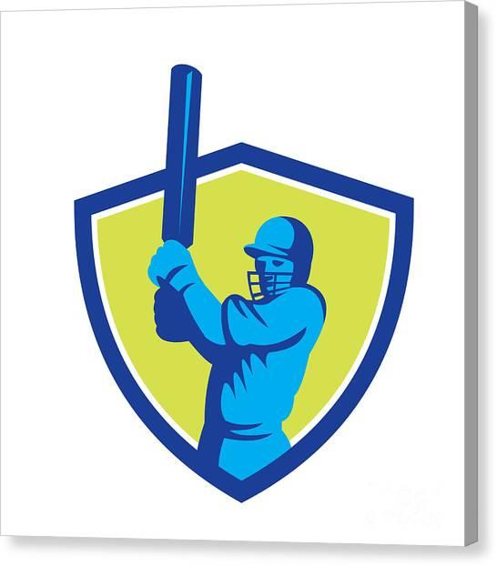 Cricket Players Canvas Print - Cricket Player Batsman Batting Shield Retro by Aloysius Patrimonio