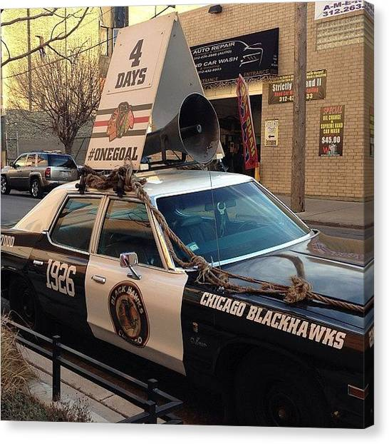 Hawks Canvas Print - 4 Days! Bad Ass Blackhawks Car !! So by Michael Becht