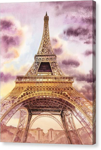 Irina Canvas Print - Eiffel Tower Paris France by Irina Sztukowski