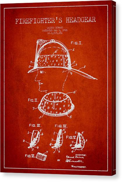 Firefighters Canvas Print - Firefighter Headgear Patent Drawing From 1926 by Aged Pixel