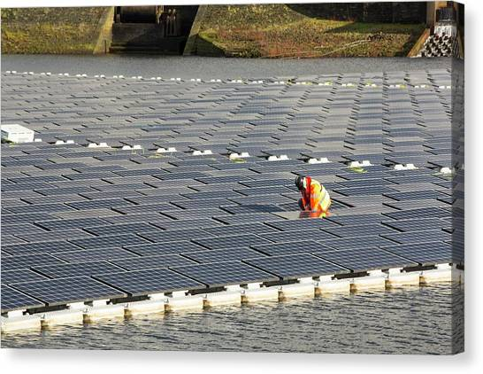 Solar Farms Canvas Print - Floating Solar Panels by Ashley Cooper/science Photo Library