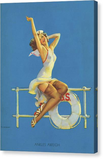Ankles Canvas Print - Gil Elvgren's Pin-up Girl by Underwood Archives
