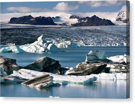 Vatnajokull Glacier Canvas Print - Glacial Lake by Steve Allen/science Photo Library