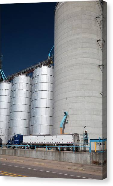 Truck Driver Canvas Print - Grain Truck Being Filled At A Silo by Jim West