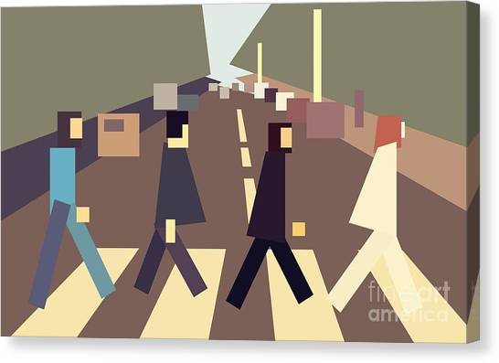 4 Guys Crossing Abbey Road Canvas Print