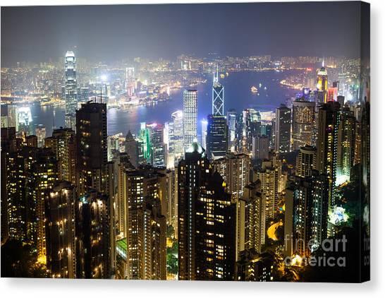 Hongkong Canvas Print - Hong Kong Harbor From Victoria Peak At Night by Matteo Colombo