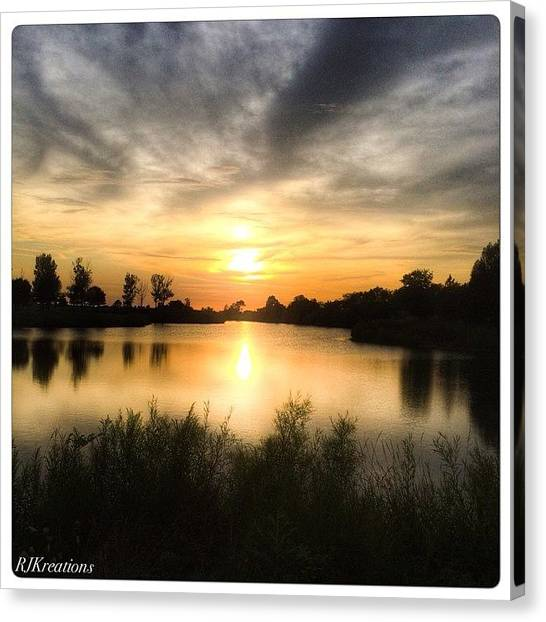 Lake Sunsets Canvas Print - #igbest #iphone #iglovers by Roberta Weinmann