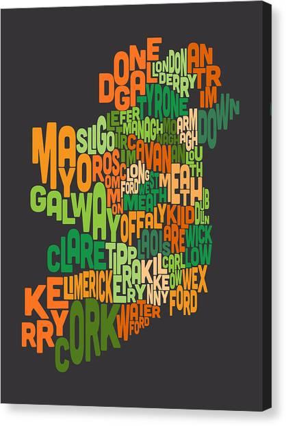 Irish Canvas Print - Ireland Eire County Text Map by Michael Tompsett