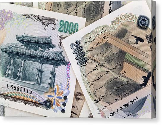 Yen Canvas Print - Japan Detail Of Japanese Paper by Jaynes Gallery