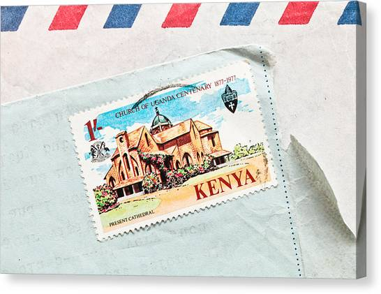Kenyan Canvas Print - Kenya Stamp by Tom Gowanlock